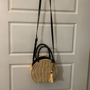 Straw & Black Crossbody Purse